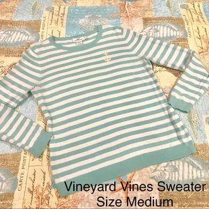 Vineyard Vines Seafoam Aqua Striped Sweater Size M